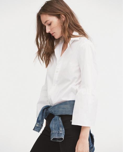 Broadcloth Bell-Sleeve Shirt