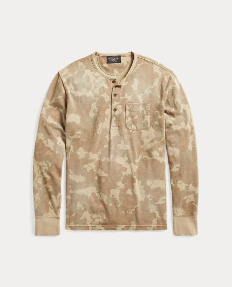Camo Slub Cotton Henley