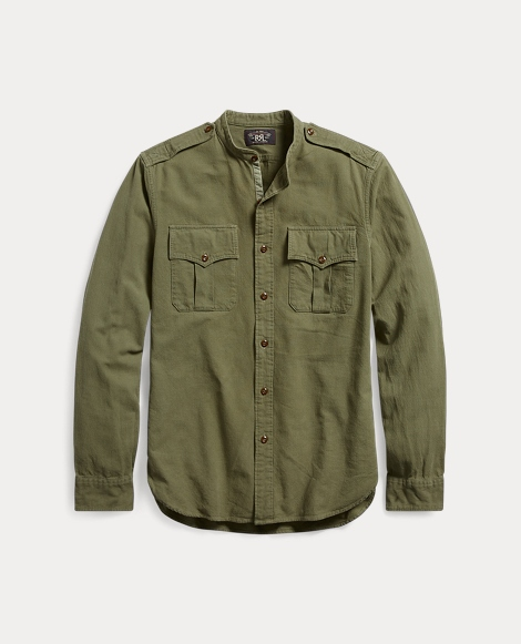 Cotton Jacquard Military Shirt