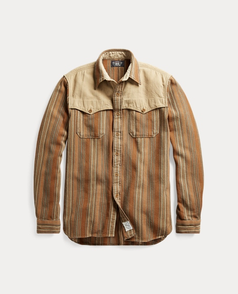 Striped Cotton Military Shirt