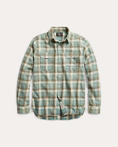 Plaid Cotton-Linen Workshirt