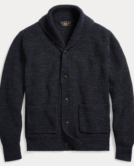 Cotton Shawl-Collar Cardigan