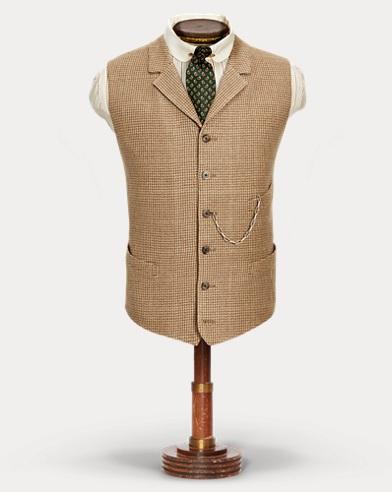 Linen-Blend Tweed Lapel Vest