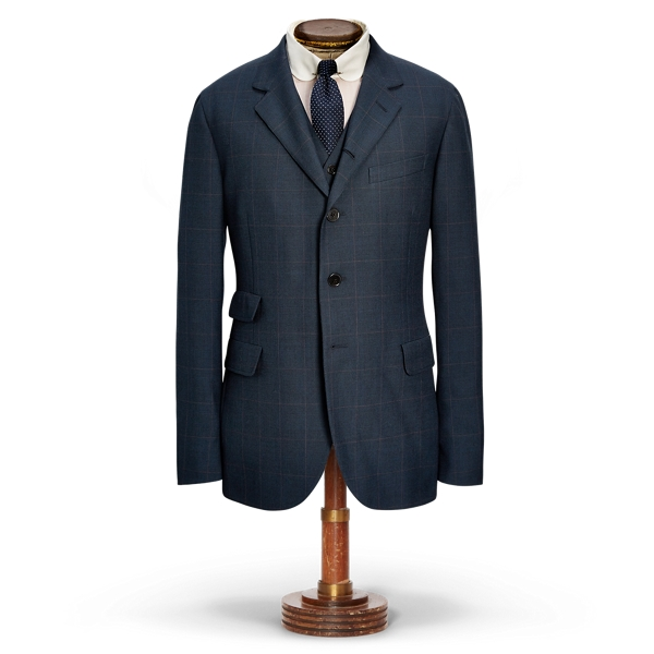 Ralph Lauren Windowpane Wool Sport Coat Blue 36