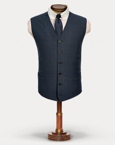 Windowpane Wool Tweed Vest