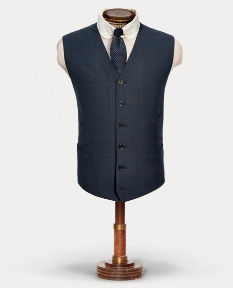 Windowpane Wool Tweed Vest