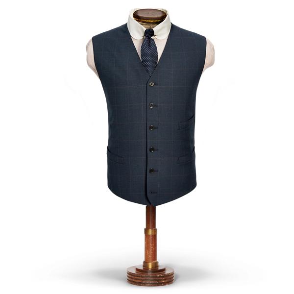 Ralph Lauren Windowpane Wool Tweed Vest Blue 40