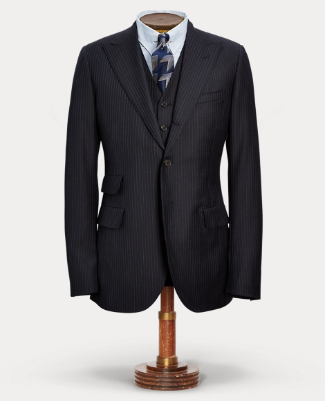 Pinstripe Wool Suit Jacket