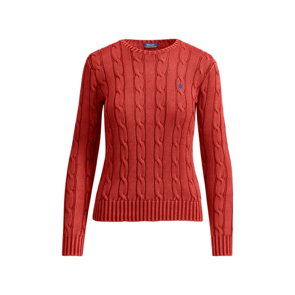Ralph Lauren Cable-Knit Cotton Sweater Red Xs