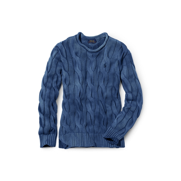 Ralph Lauren Boxy Cable Cotton Sweater Indigo Xs