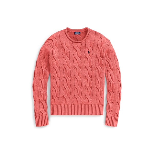 Ralph Lauren Boxy Cable Cotton Sweater Red S