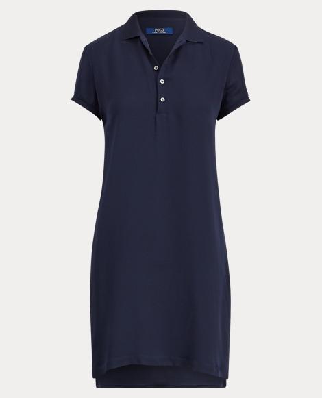 Silk Short-Sleeve Polo Dress