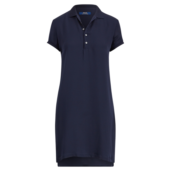Ralph Lauren Silk Short-Sleeve Polo Dress Navy 2