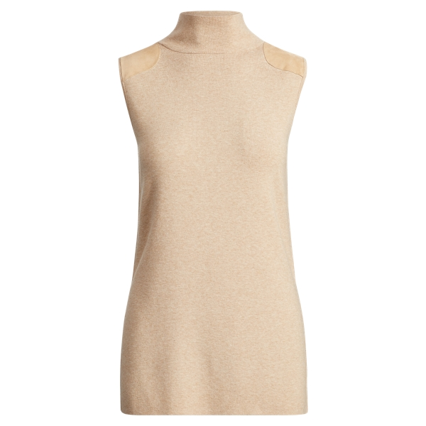 Ralph Lauren Sleeveless Mockneck Sweater Beige Heather Xs