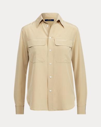 Silk Crepe Button-Down Shirt