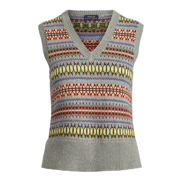 Ralph Lauren Fair Isle Sweater Vest Grey Xs