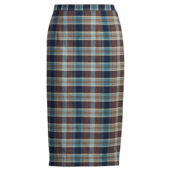 Ralph Lauren Cotton Madras Pencil Skirt Blue/Brown 2