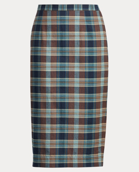 Cotton Madras Pencil Skirt