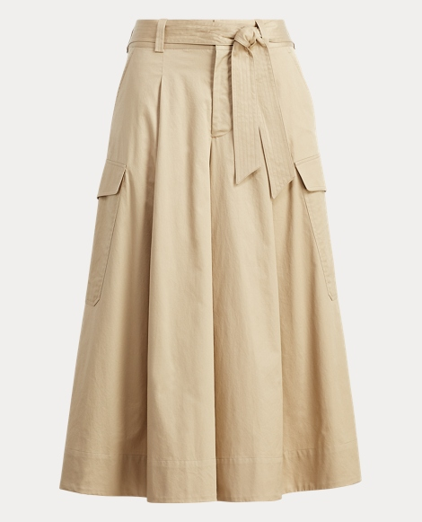 Cotton Chino Wide-Leg Pant
