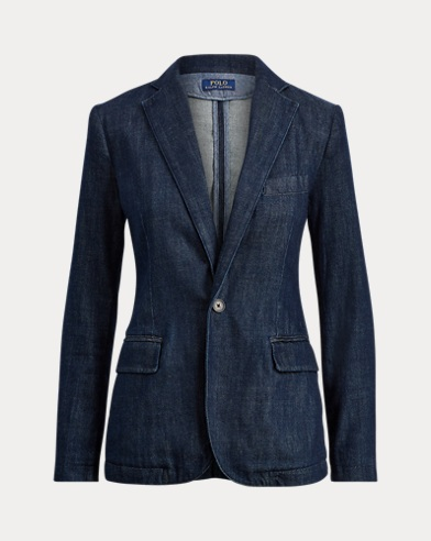 Single-Button Denim Blazer