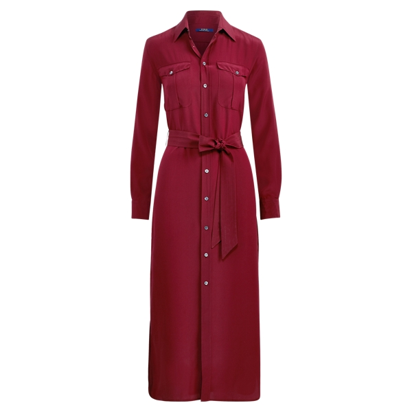 Ralph Lauren Silk Crepe Shirtdress Wine 10