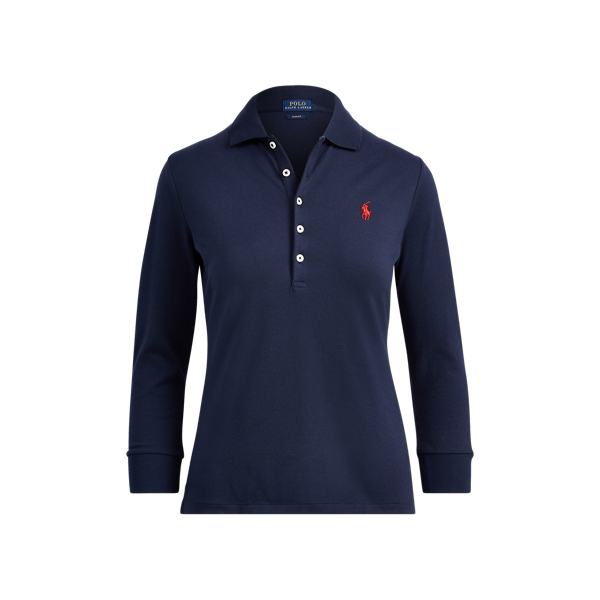 Ralph Lauren Slim Stretch Mesh Polo Shirt Navy Xs