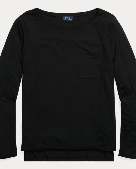 Long-Sleeve Boatneck Top