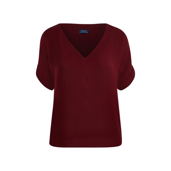Ralph Lauren Silk Georgette V-Neck Top Wine Xs