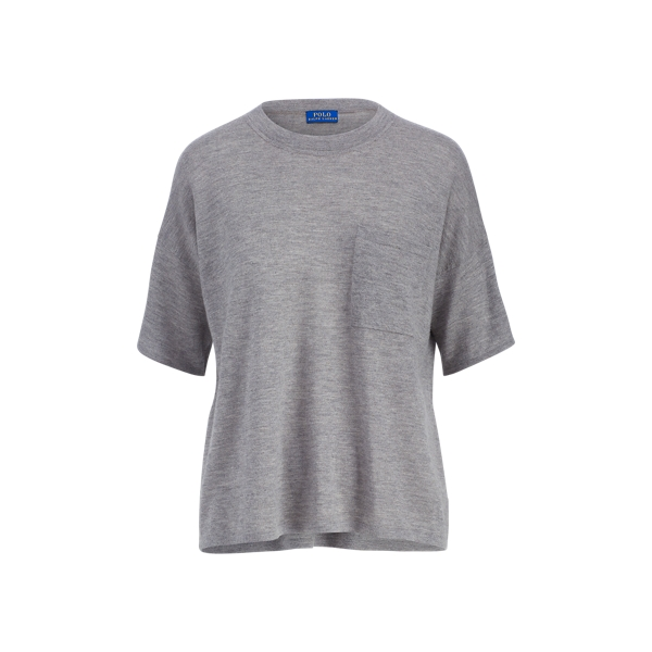 Ralph Lauren Boxy Cashmere Pocket Tee Grey Heather Xs