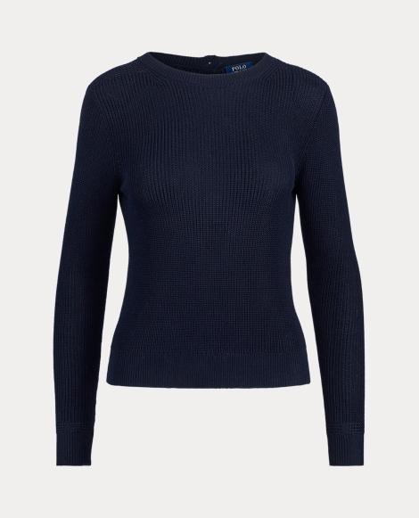 Button-Back Crewneck Sweater