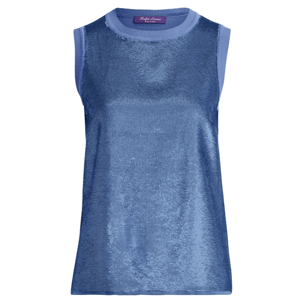Ralph Lauren Sequined Sleeveless Sweater Sky Blue S