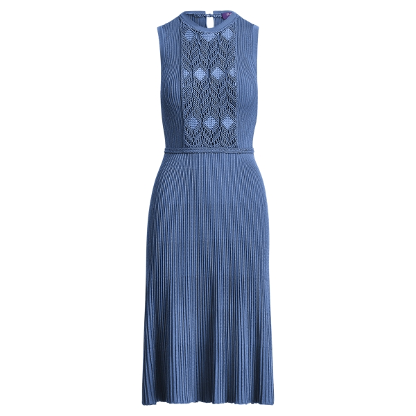 Ralph Lauren Fit-And-Flare Macramé Dress Sky Blue M