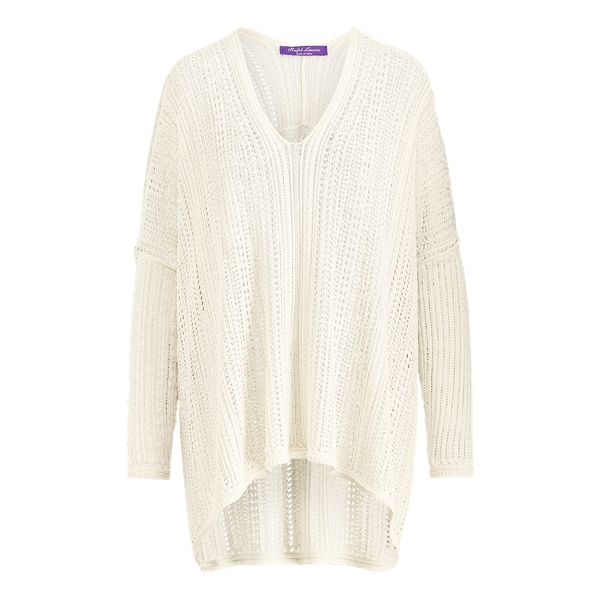 Ralph Lauren Silk V-Neck Poncho Off White Xs/S