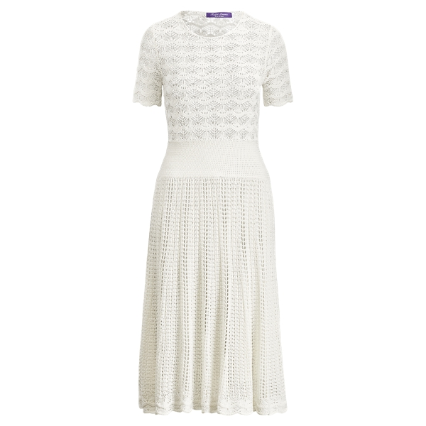 Ralph Lauren Fit-And-Flare Silk Dress Off White S