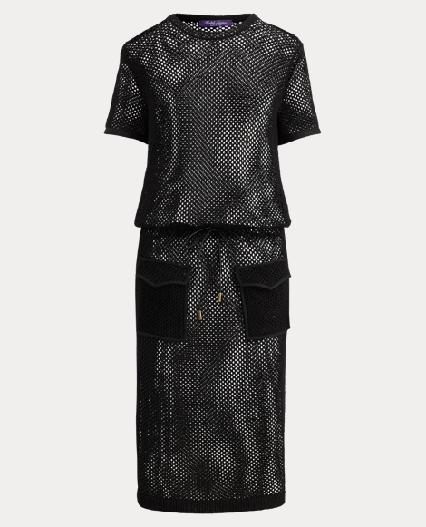 Leather-Trim Mesh Dress