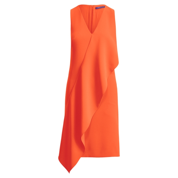 Ralph Lauren Lucianna Ruffled Crepe Dress Persimmon 6