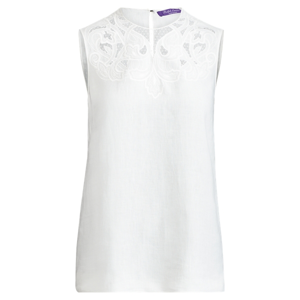 Ralph Lauren Adrienne Linen Top Off White 4