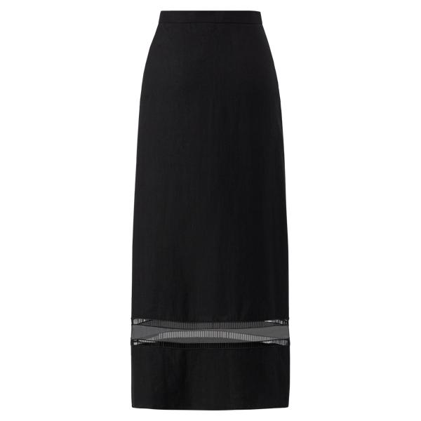 Ralph Lauren Francesca Linen A-Line Skirt Black 2