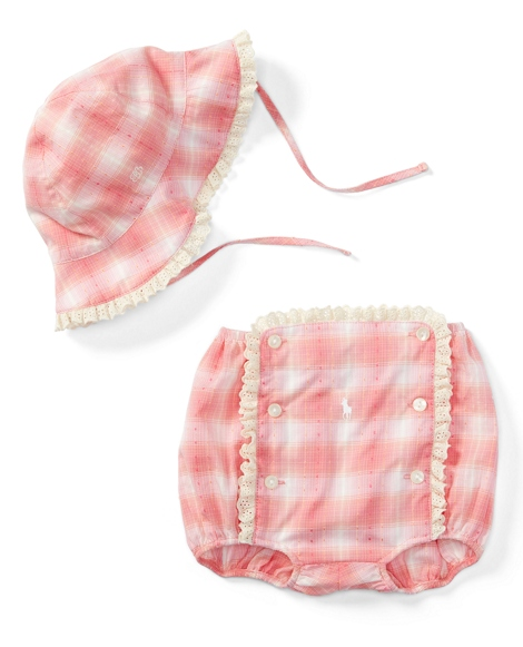 Madras Hat & Diaper Cover Set