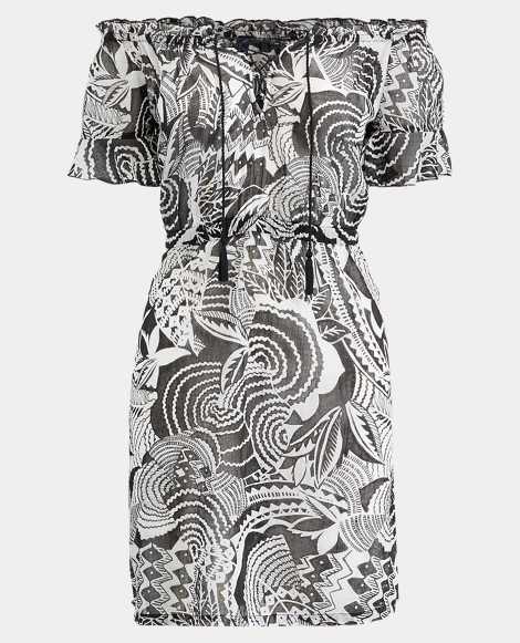 Mosaic-Print Cotton Cover-Up