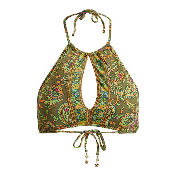 Ralph Lauren Paisley-Print Bikini Top Olive S