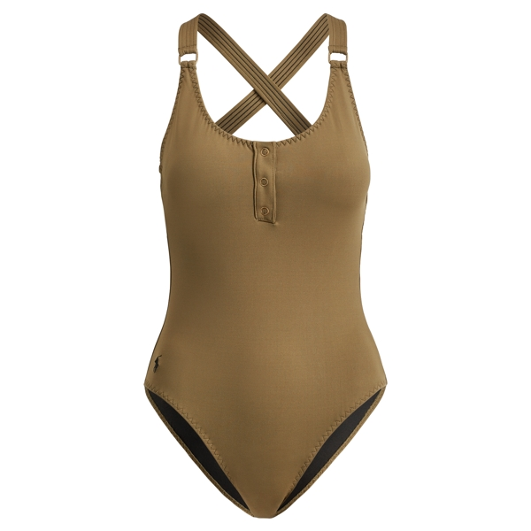 Ralph Lauren Henley One-Piece Swimsuit Olive M