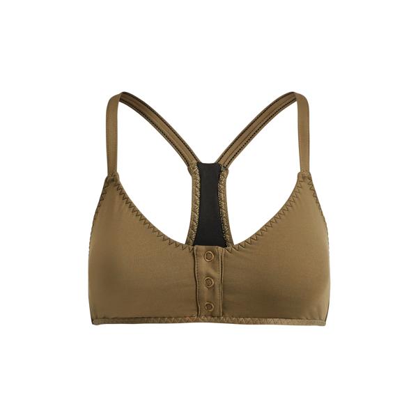 Ralph Lauren Snap-Front Bikini Top Olive Xs