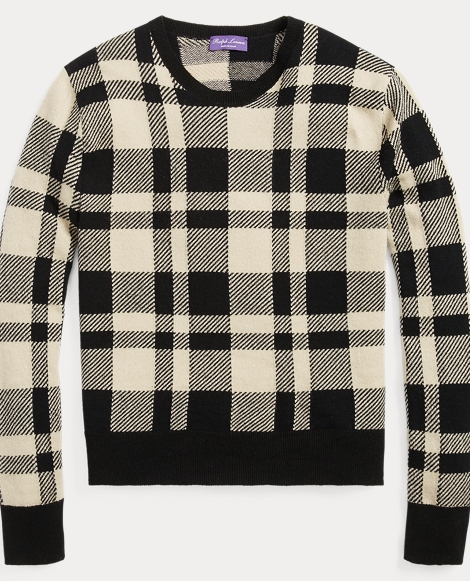Plaid Cashmere-Wool Sweater