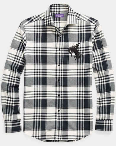 Embroidered Plaid Cotton Shirt