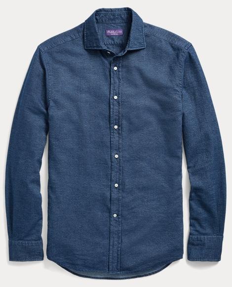 Indigo Cotton Dress Shirt