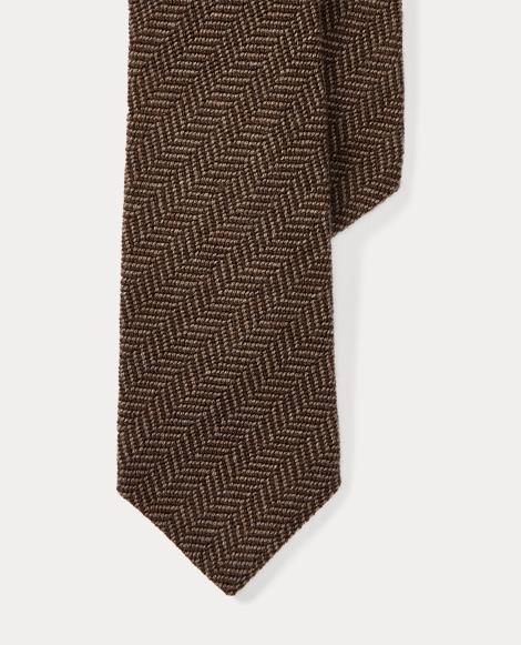 Herringbone Cashmere-Silk Tie