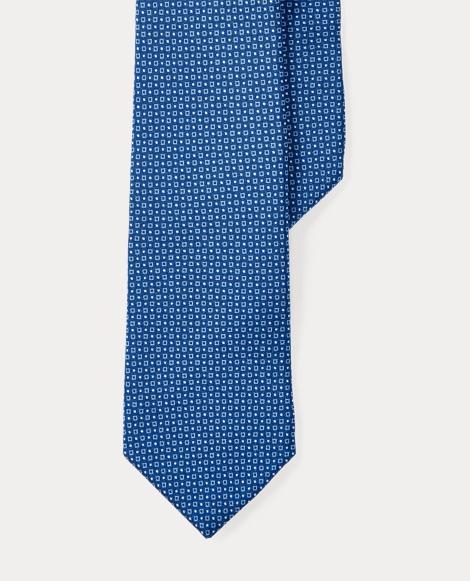 Square-Print Silk Narrow Tie