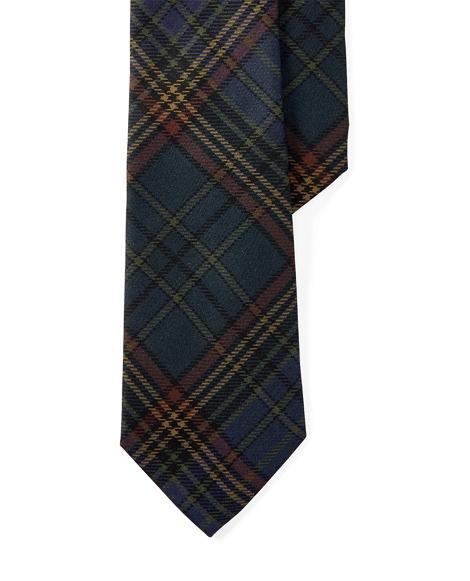 Plaid Silk Twill Narrow Tie