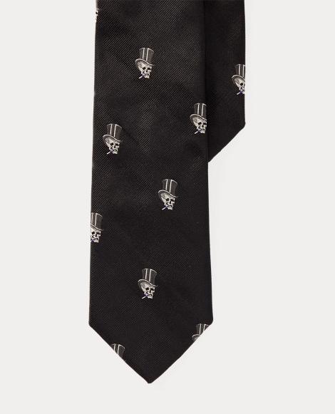 Top Hat-Skull Silk Narrow Tie